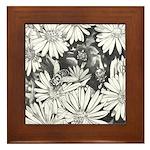 Flowers & Honey Bee Art Framed Tile