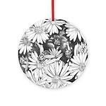 Flowers & Honey Bee Art Ornament (round)