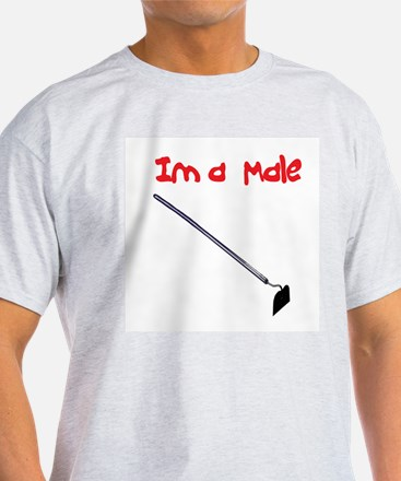 I am  Male Hoe Ash Grey T-Shirt
