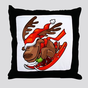 DEER SLEDDING Throw Pillow