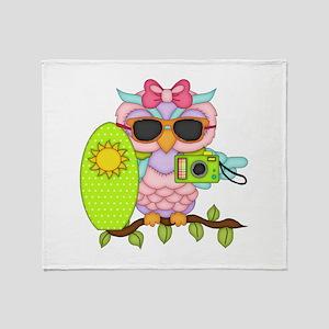 Surfing Girl Owl Throw Blanket