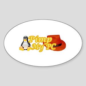 Linux Pimp Oval Sticker