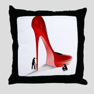 Giant Red Stiletto Art Throw Pillow