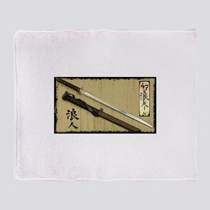 The Blade of the 47 Ronin Throw Blanket