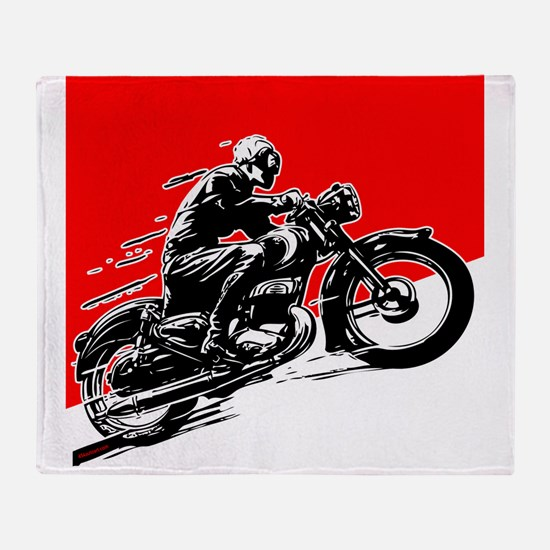 Vintage Motorcycle Racing Throw Blanket