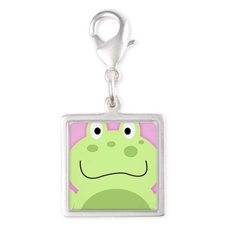 Cute Frog with Pink Background Charms