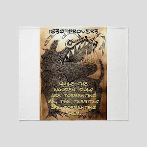 While The Wooden Idols - Igbo Proverb Throw Blanke