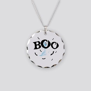 Ghost Boo Necklace Circle Charm