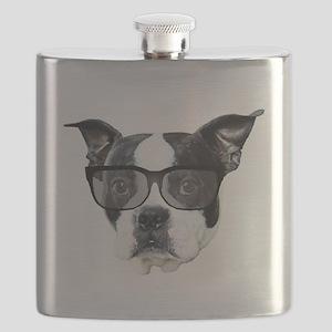 Boston terrier glasses Flask