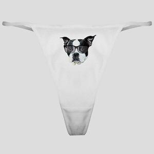 Boston terrier glasses Classic Thong