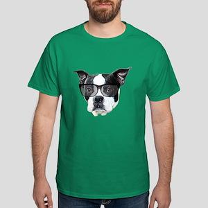 Boston terrier glasses Dark T-Shirt
