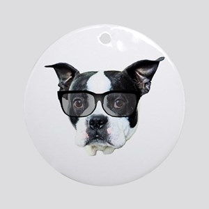 Boston terrier glasses Ornament (Round)