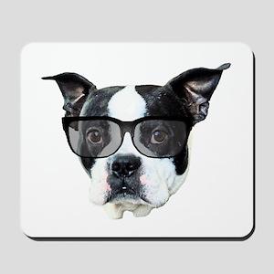 Boston terrier glasses Mousepad