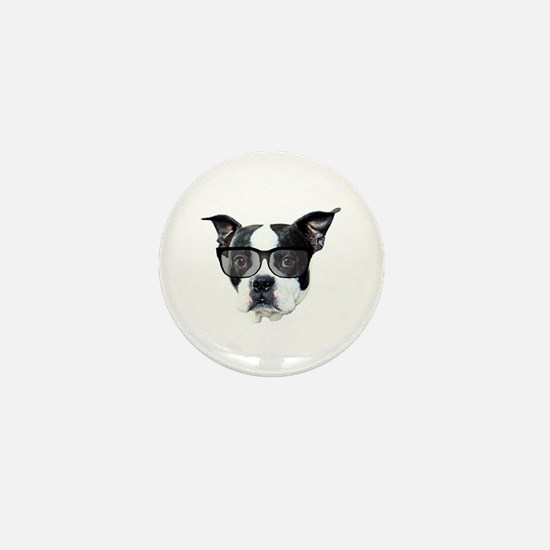 Boston terrier glasses Mini Button