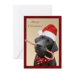 Black Lab Santa Candy Cane Christmas Cards