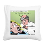 Dracula at the Dentist Square Canvas Pillow
