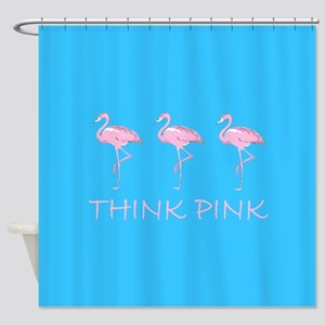 Breast cancer flamingo d bu bl Shower Curtain