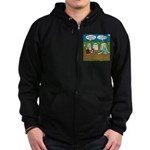Zombie Halloween Party Zip Hoodie (dark)
