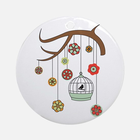 Birdcage And Flowers Ornament (Round)