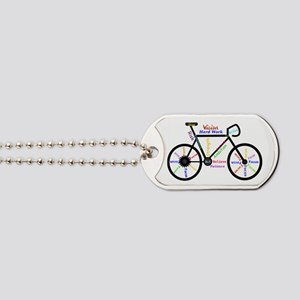 Bike made up of words to motivate Dog Tags
