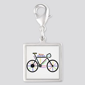 Bike made up of words to motivate Charms
