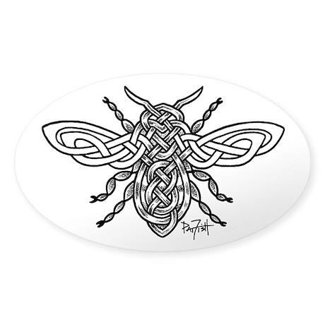 Celtic Knotwork Bee - black lines Sticker