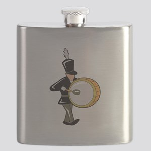 bass drummer marching black abstract Flask