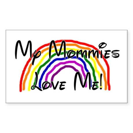 Rainbow Love Mommies Rectangle Sticker