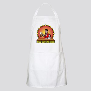 WILL SING FOR BEER BBQ Apron