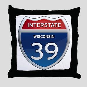 Interstate 39 Throw Pillow