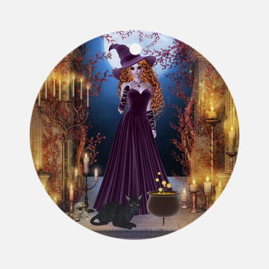 Halloween Witch Ornament (Round)