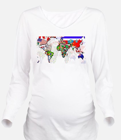 World Flag Map Long Sleeve Maternity T-Shirt