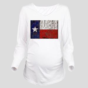 Retro Flag of Texas Long Sleeve Maternity T-Shirt