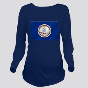 Virginia State Flag Long Sleeve Maternity T-Shirt