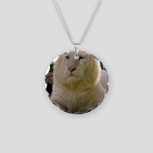white lion Necklace Circle Charm