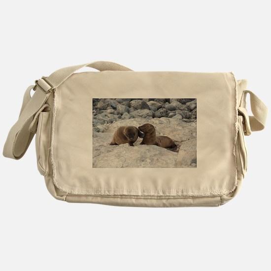 Baby Sea Lions Galapagos Messenger Bag