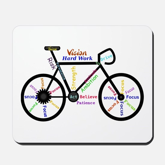 Bike made up of words to motivate Mousepad