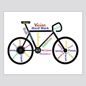 Bike made up of words to motivate Small Poster
