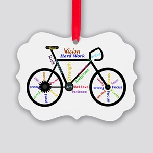 Bike made up of words to motivate Picture Ornament
