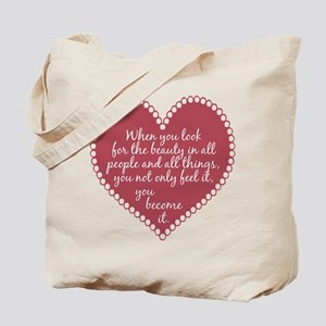 Inspirational Beauty Quote Tote Bag