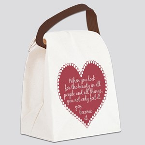 Inspirational Beauty Quote Canvas Lunch Bag