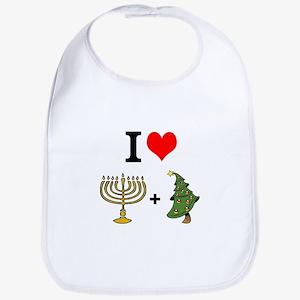 I Heart Hanukkah and Christmas Bib