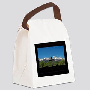 Chapel View of the Grand Tetons Canvas Lunch Bag