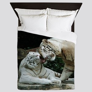 Kiss love and joy White Bengal Tigers Queen Duvet