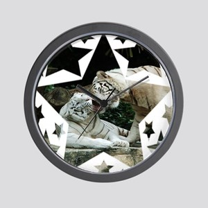 Kiss love and joy White Bengal Tigers 5 Wall Clock