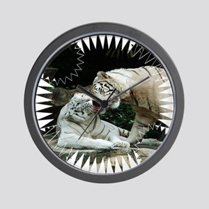 Kiss love and joy White Bengal Tigers 3 Wall Clock