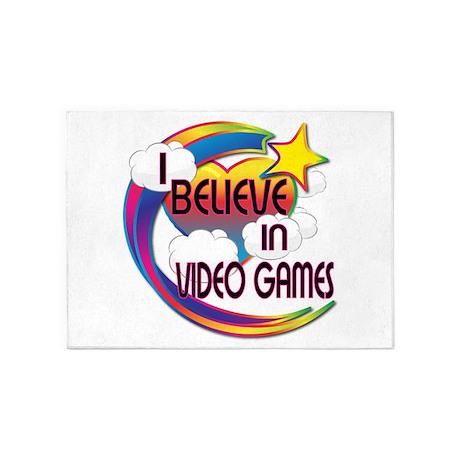 I Believe In Video Games Cute Believer Design 5'x7