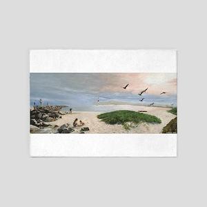 Half Moon Bay Painting 5'x7'Area Rug