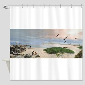 Half Moon Bay Painting Shower Curtain