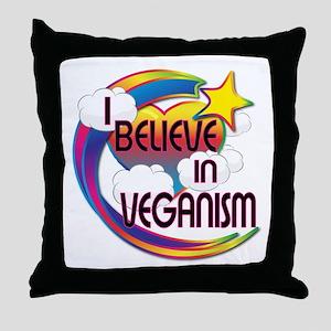 I Believe In Veganism Cute Believer Design Throw P